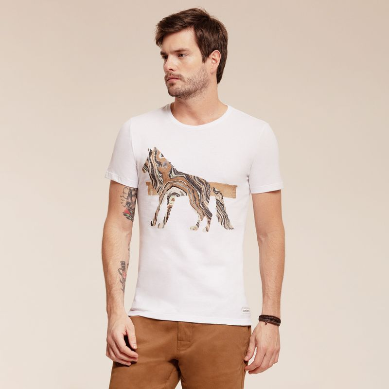 Camiseta manga curta estampa Lobo 87102028-1_1