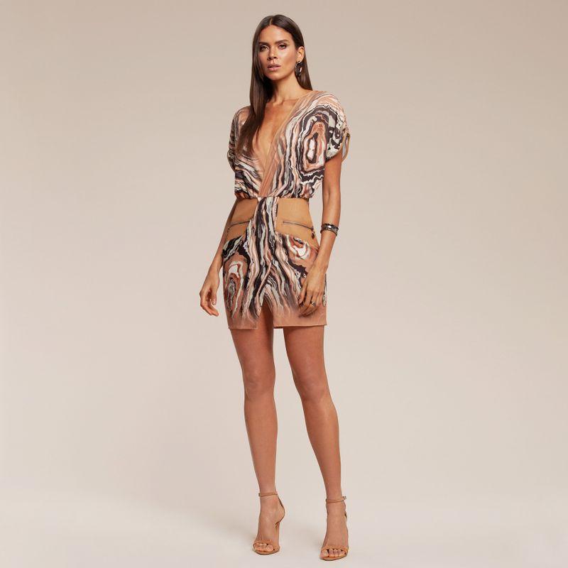 Vestido Estampado com Detalhe em Couro 87212036-1710_2