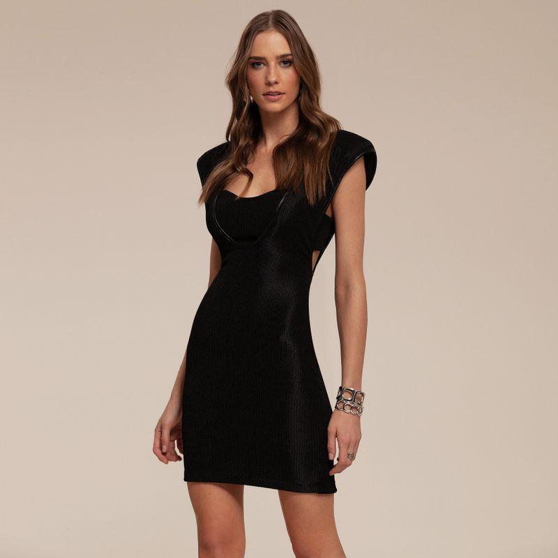 Vestido Black Canelado com Ombreira 87212067-21_1