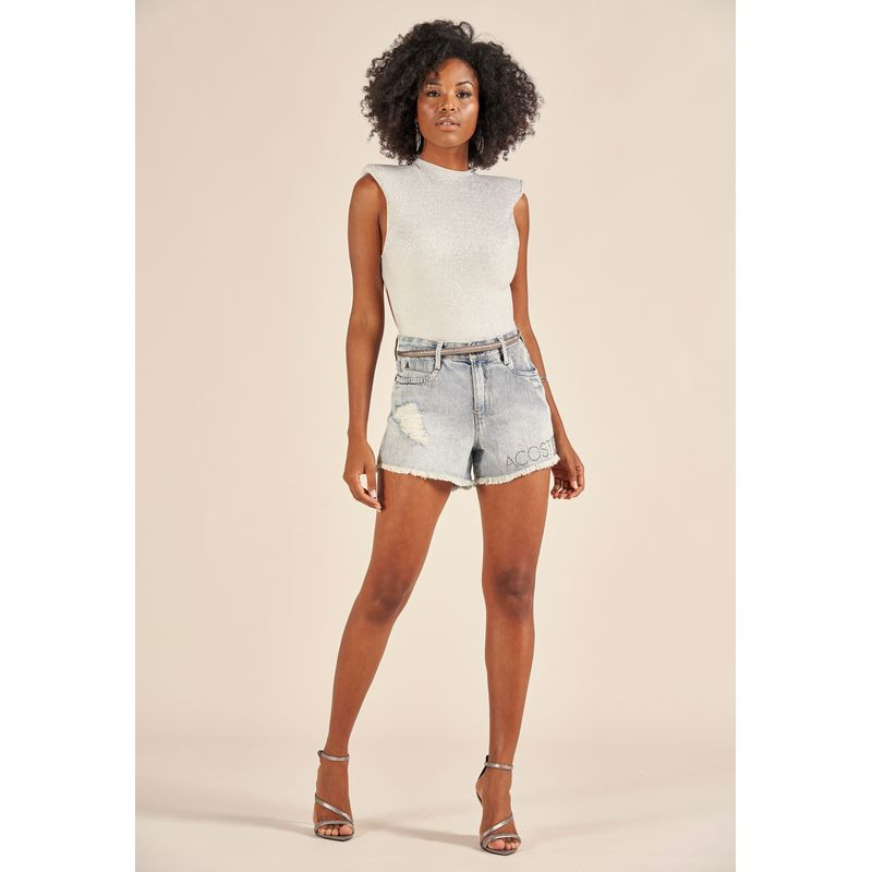 Short Jeans Destroyed Detalhe Aplicação 88224005-1