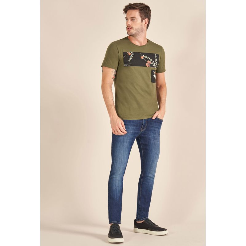 Camiseta-Acostamento-Casual-Estampada-Verde