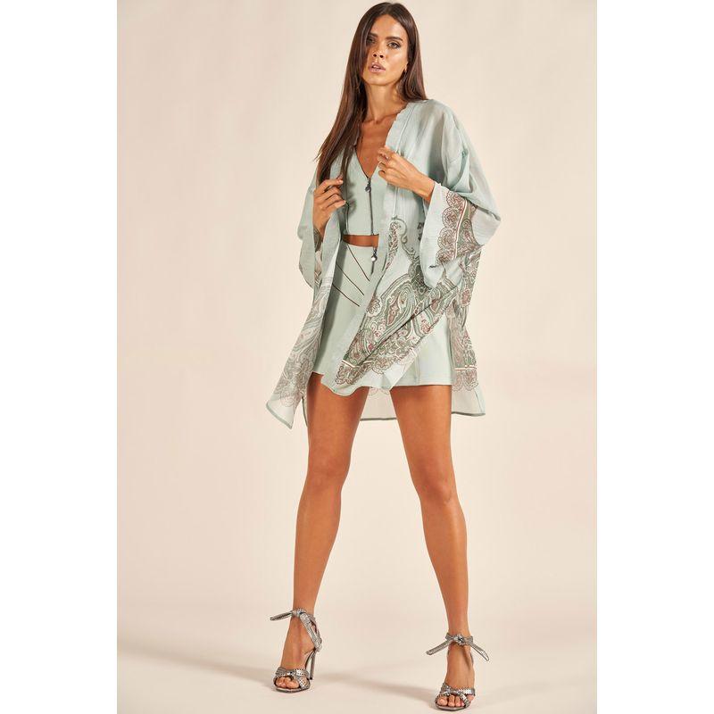 Kimono Plisse Shine Estampa Arabescos Andaluzia 89209000