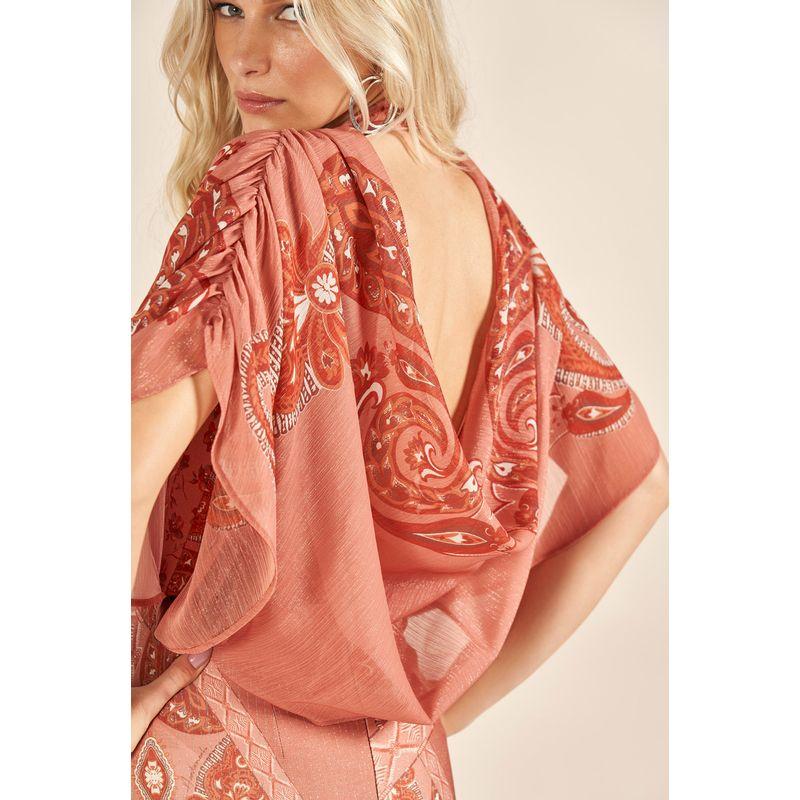 Vestido Curto Plisse Shine Estampa Patchwork Andaluzia 89212038-4