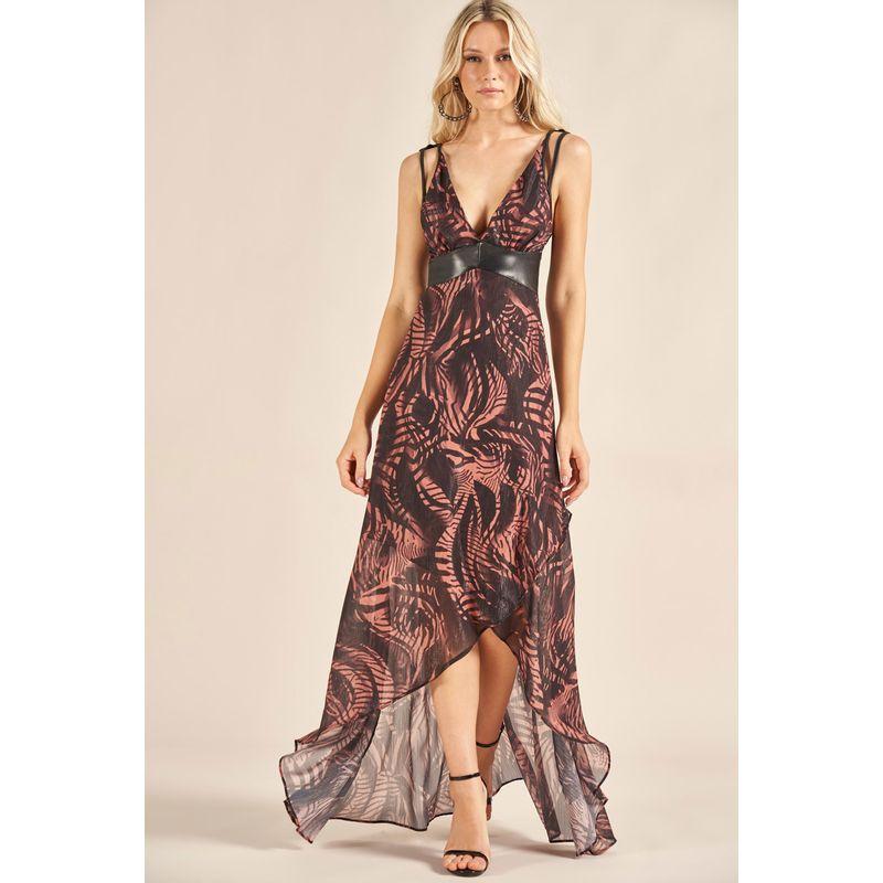 Vestido Longo Plisse Shine Estampa Realist Animal 89212065-1
