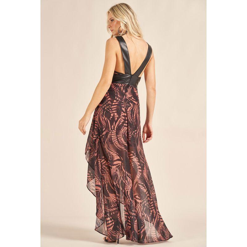 Vestido Longo Plisse Shine Estampa Realist Animal 89212065-3