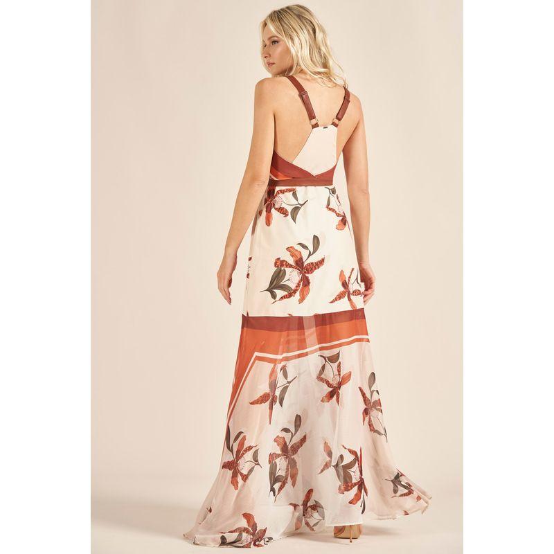 Vestido Longo Transpasse Estampa Orquídeas Andaluzia 89212075-3