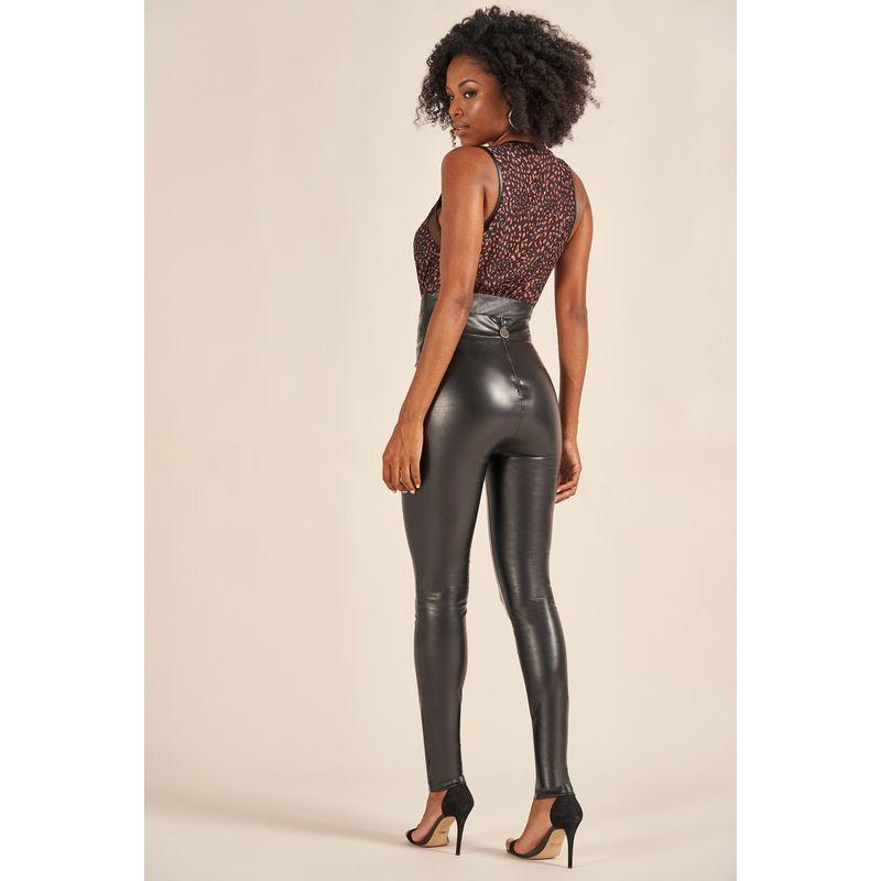 Calça Skinny Couro Fake Resinado 89214019-2