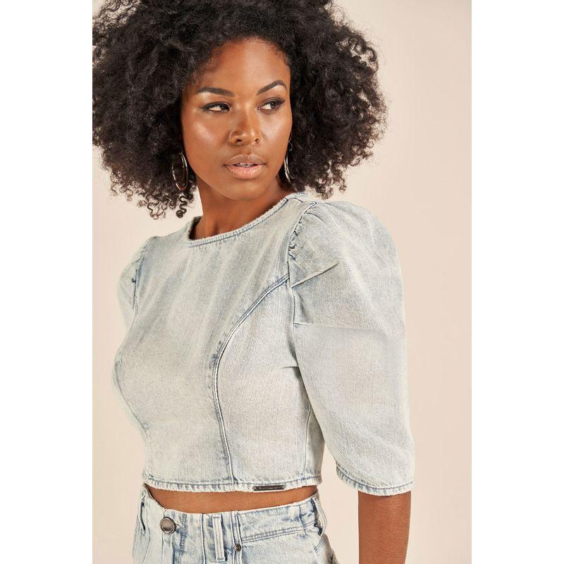 Blusa Jeans Manga Bufante 89205302-2
