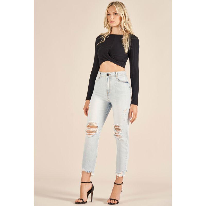 Calça Jeans Gigi Destroyed Detalhe Aplicação 89213022