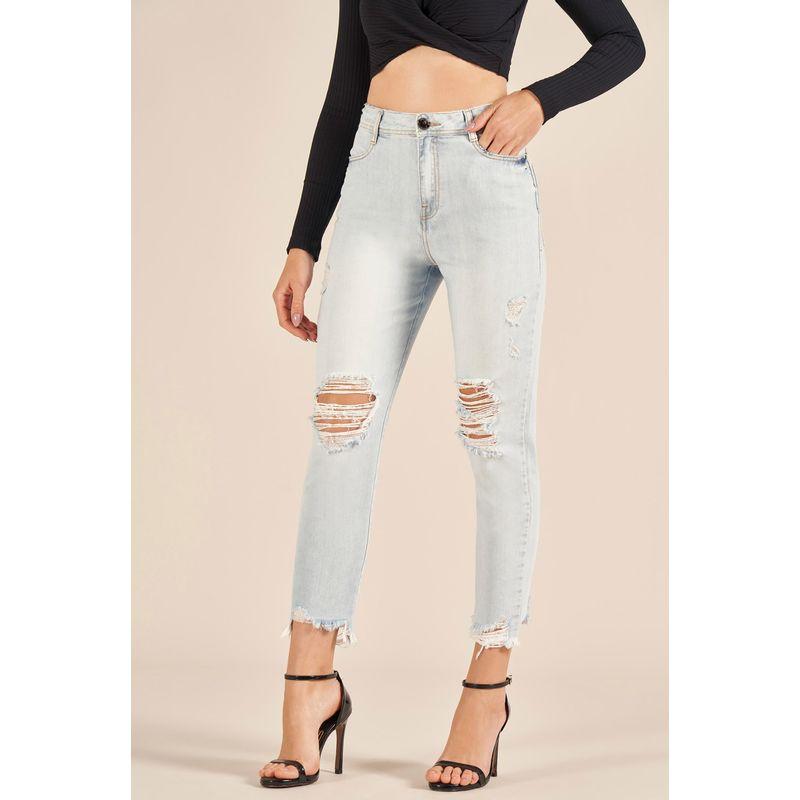 Calça Jeans Gigi Destroyed Detalhe Aplicação 89213022-1