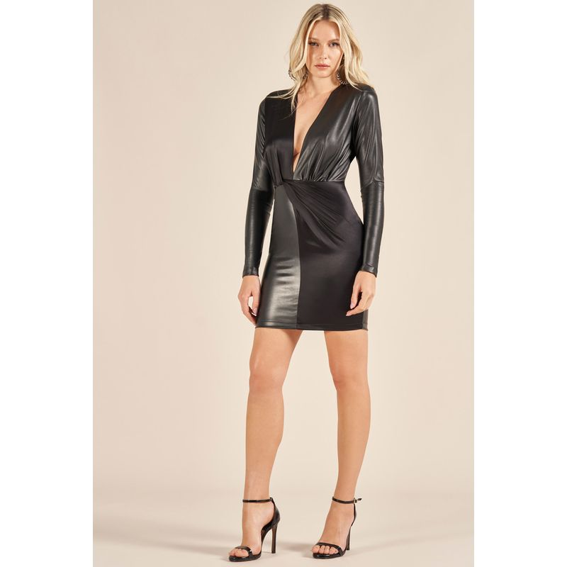 Vestido Mix Texturas Detalhe Ombros 89212056
