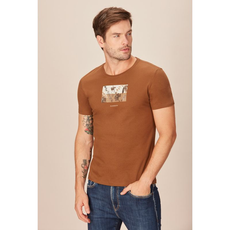 Camiseta-Acostamento-Casual-Lettering-Marrom