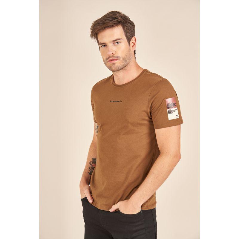 Camiseta-Acostamento-Casual-Marrom-Estampa-Wolf-Travel