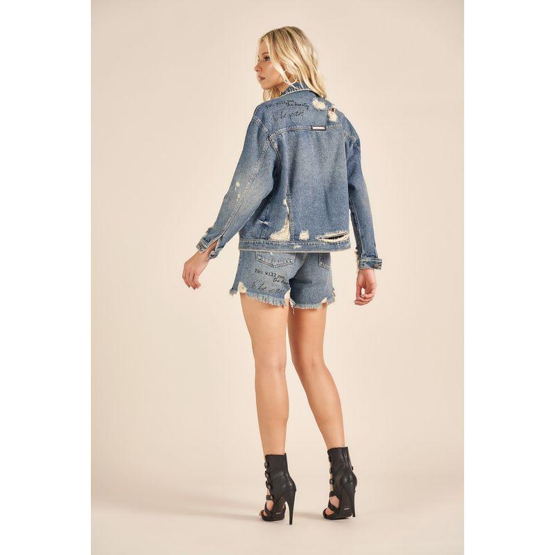 Jaqueta Jeans Feminina Destroyed Acostamento 90208200-3