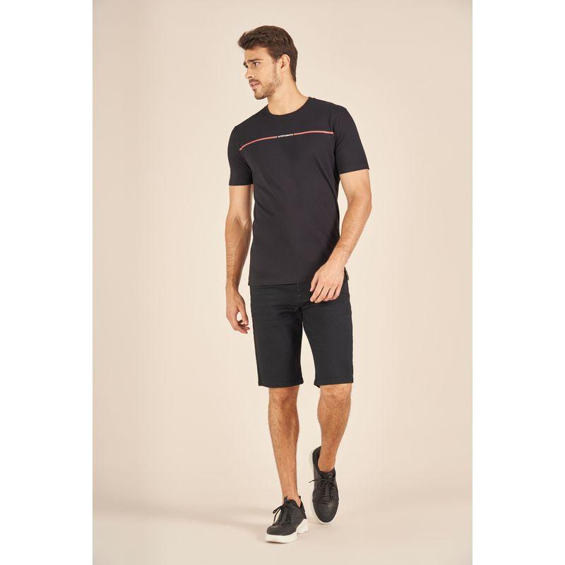 Camiseta-Acostamento-Casual-Preta-Estampa-Faixa