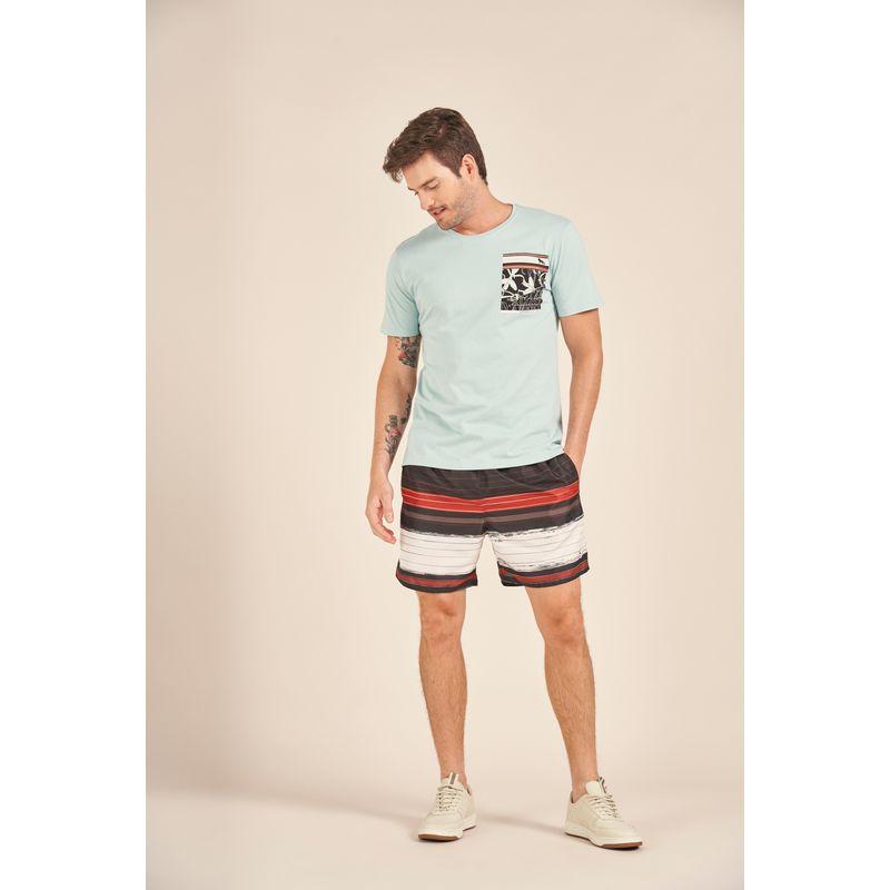 Camiseta-Acostamento-Casual-Azul-Estampada