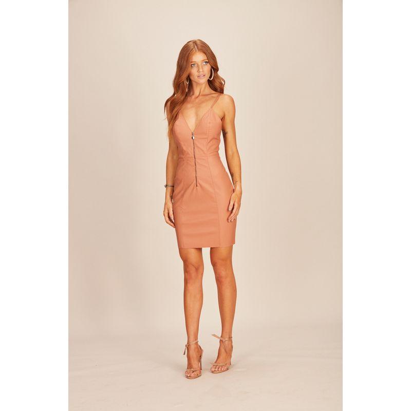 Vestido Curto Eco Skin Zíper Rosa Acostamento 90212064-1