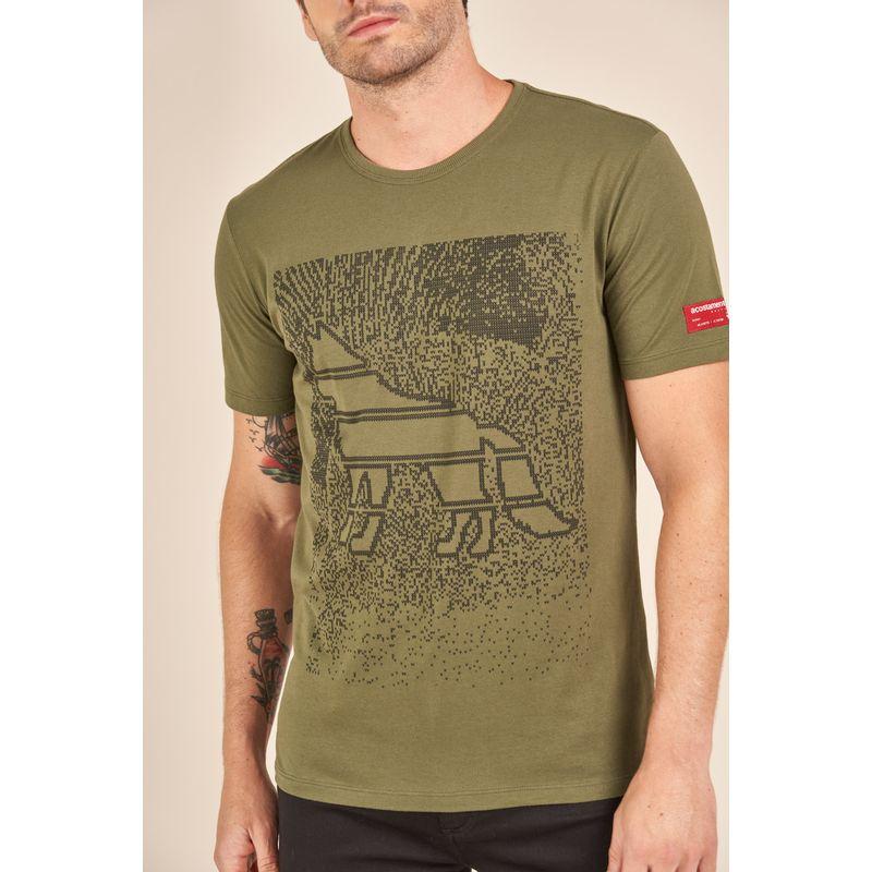Camiseta-Acostamento-Casual-Verde-Estampa-Wolf