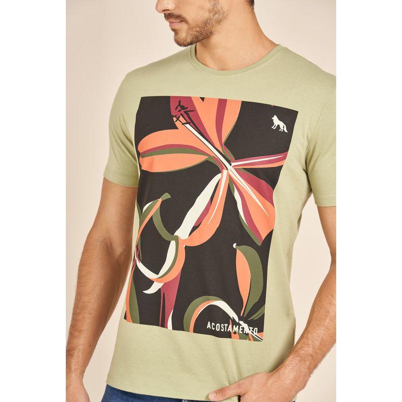 Camiseta-Acostamento-Casual-Verde-Estampa-Floral