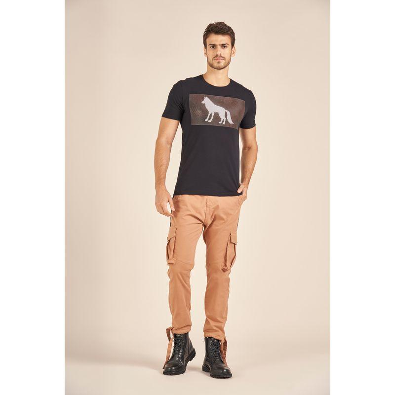 Camiseta-Acostamento-Casual-Estampa-Wolf-Alto-Relevo