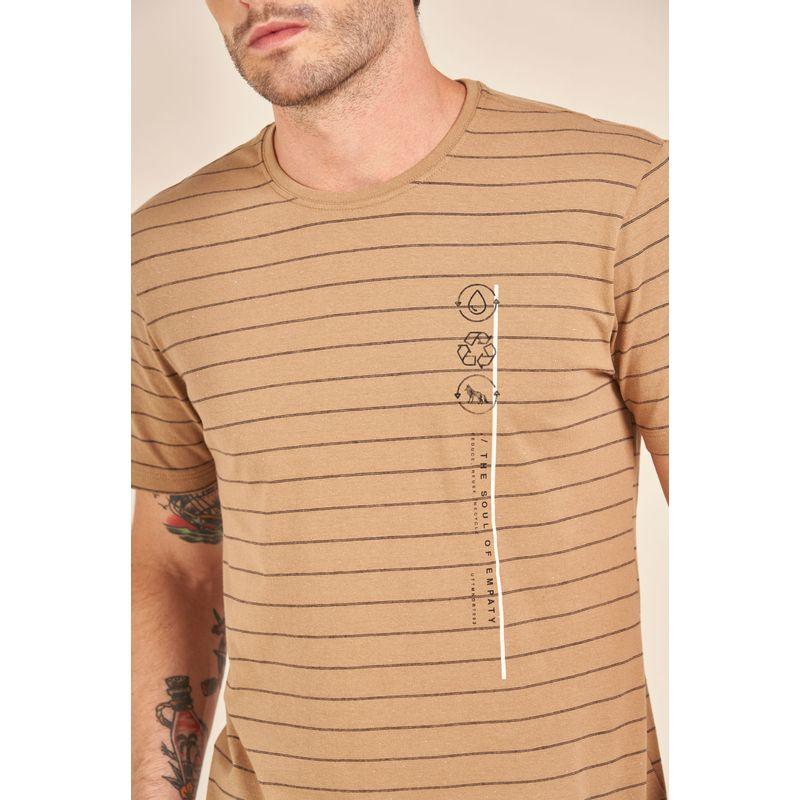 Camiseta-Acostamento-React-Marrom-Listrada