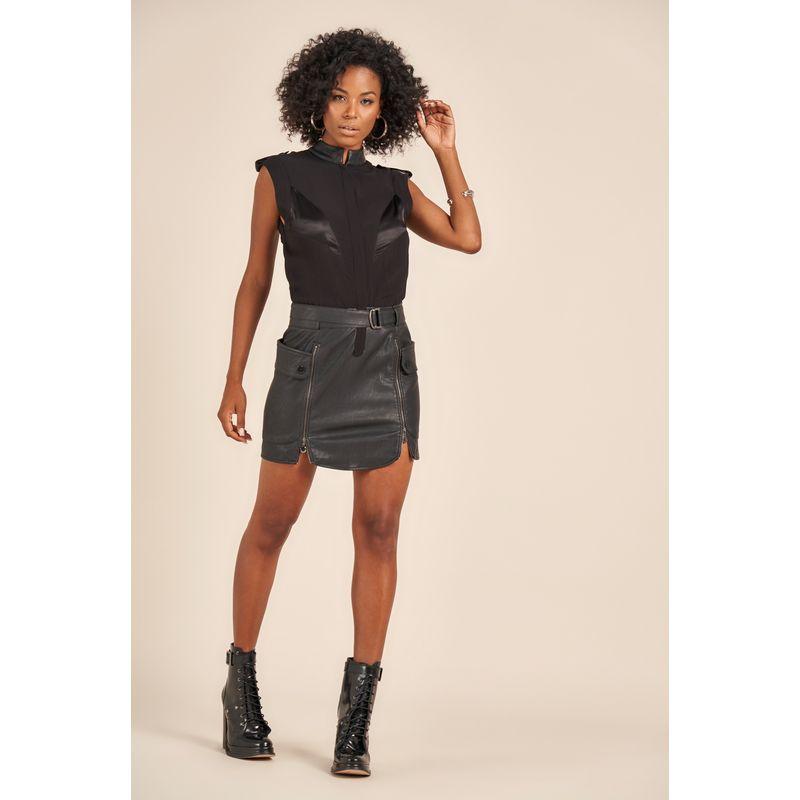 Vestido Curto Eco Skin Utilitário Preto Acostamento 90212039-1