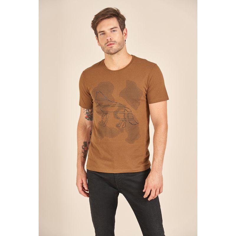 Camiseta-Acostamento-Casual-Marrom-Estampa-Wolf