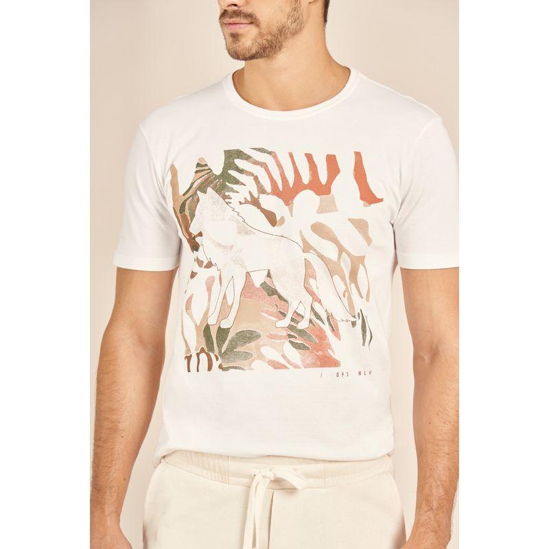 Camiseta-Acostamento-Casual-Off-White-Estampa-Wolf