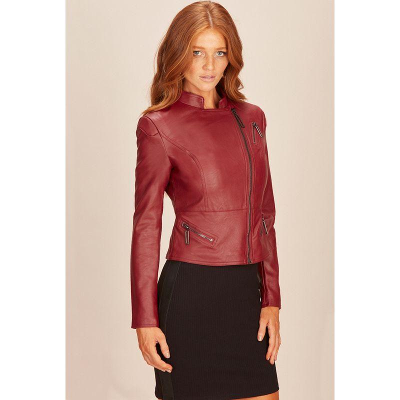 Jaqueta Feminina Eco Skin Rock Vermelho Acostamento 01208000-3