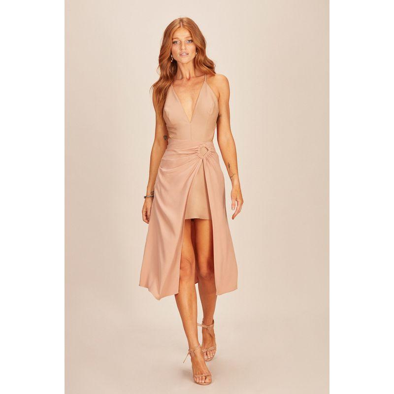 Vestido Eco Skin e Satin Viscose Rosa Acostamento 90212072-1