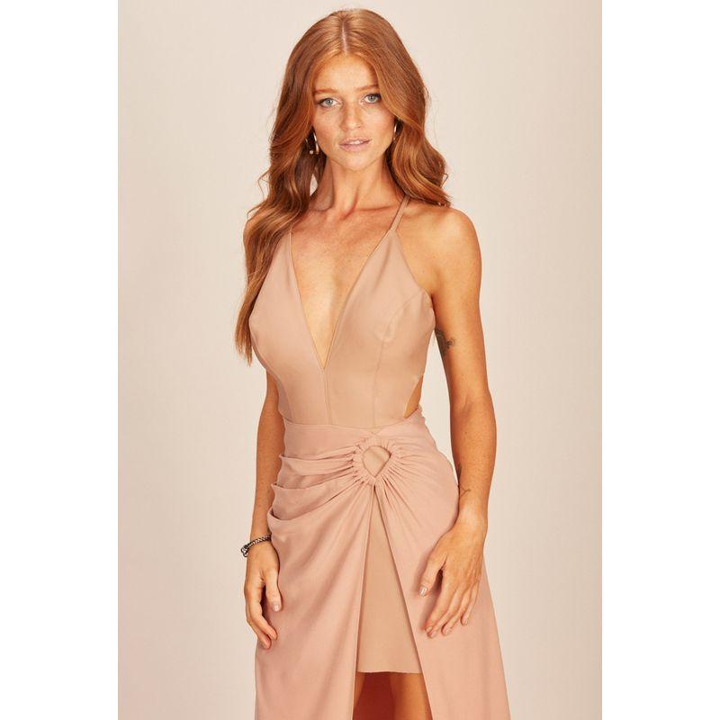 Vestido Eco Skin e Satin Viscose Rosa Acostamento 90212072-2
