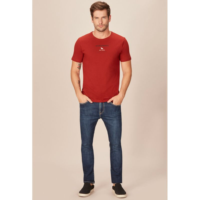 Camiseta-Acostamento-Casual-Vermelha-Estampa-Wolf-Travel