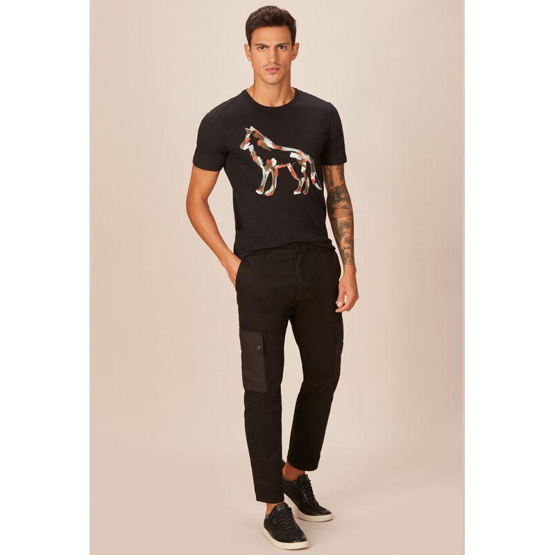 Camiseta-Acostamento-Casual-Estampa-Wolf-Preta