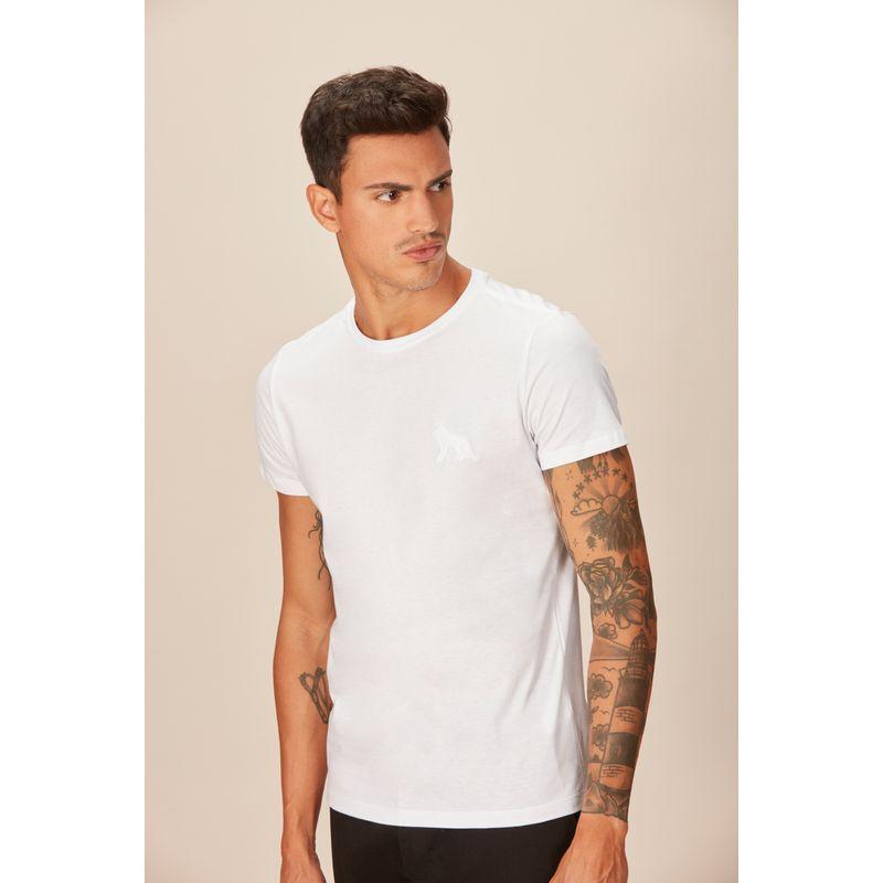Camiseta-Masculina-Casual-Bordado-Lobo-Acostamento-Branco