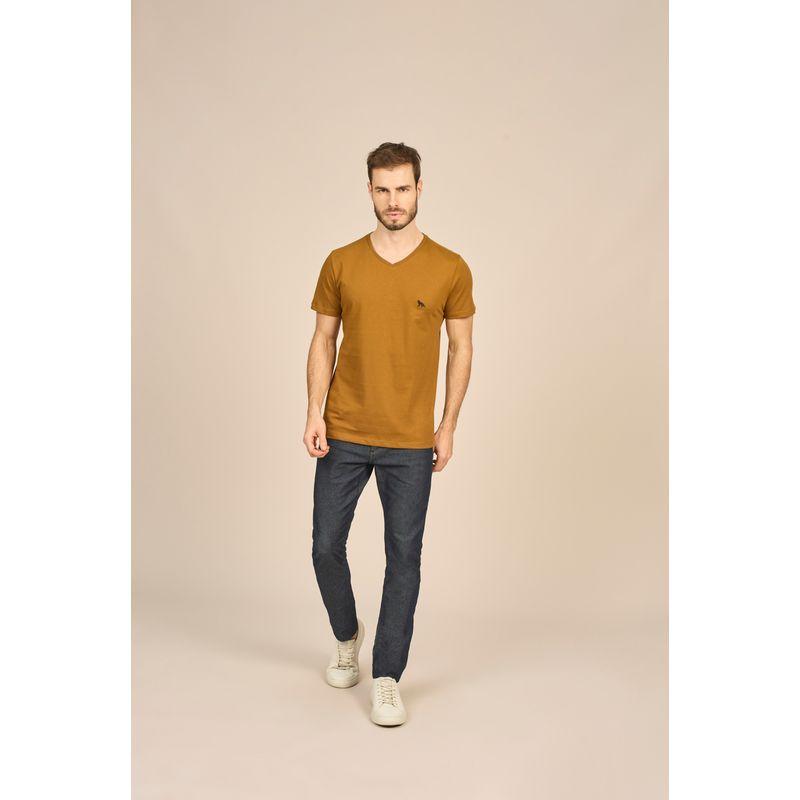 Camiseta Masculina Básica Gola V Marrom Acostamento 87102002--2-