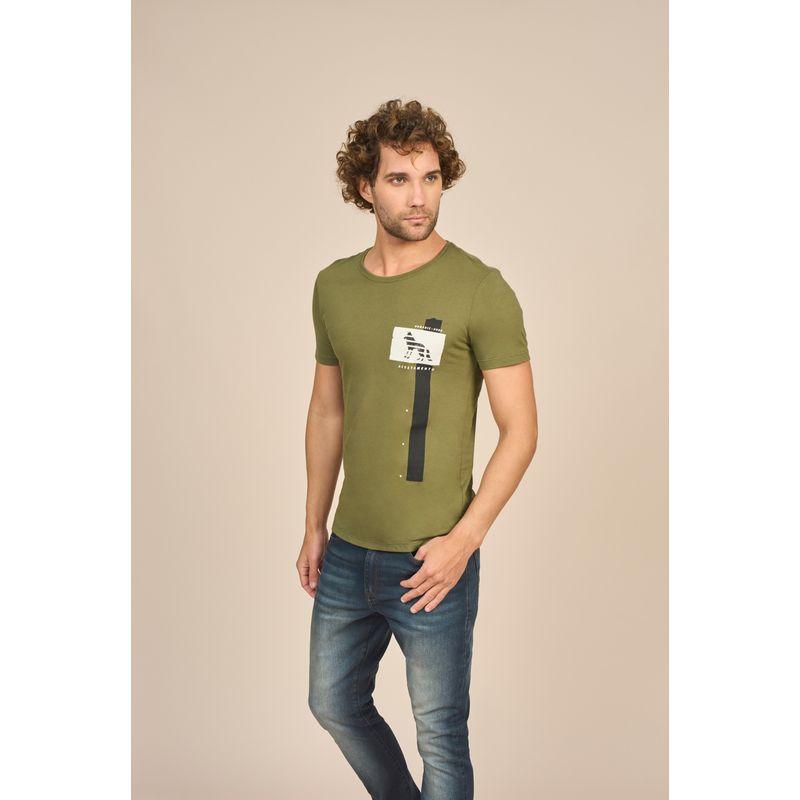 Camiseta-Masculina-Casual-Estampada-Acostamento-Verde-Oliva