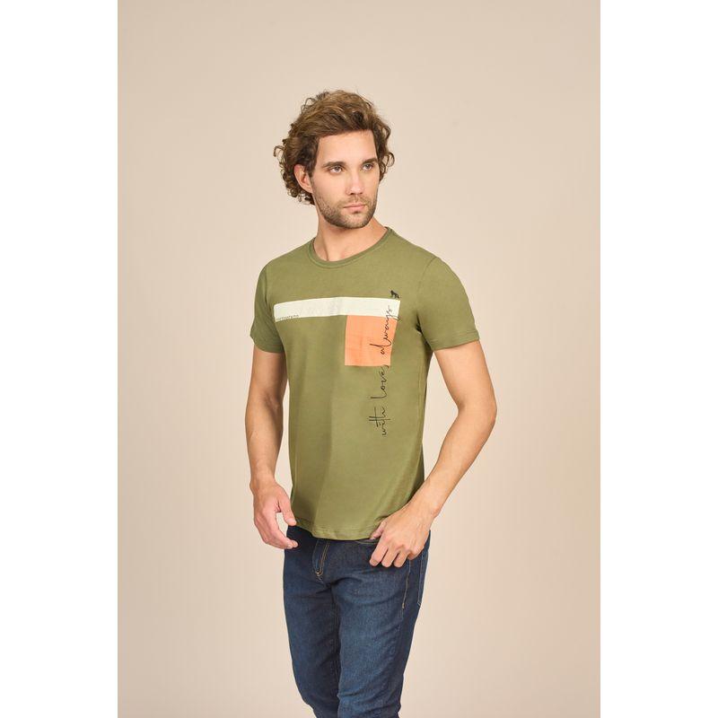 Camiseta-Masculina-Casual-Estampada-Verde-Oliva-Acostamento