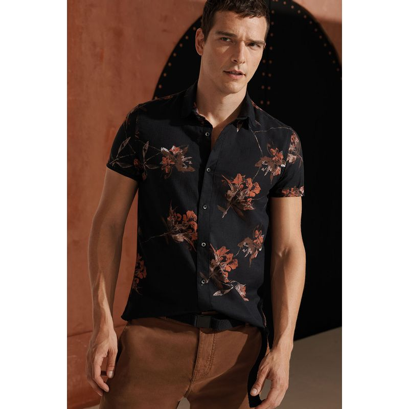 Camisa Masculina Manga Curta Estampa Calleja Preto Acostamento 89101016_1