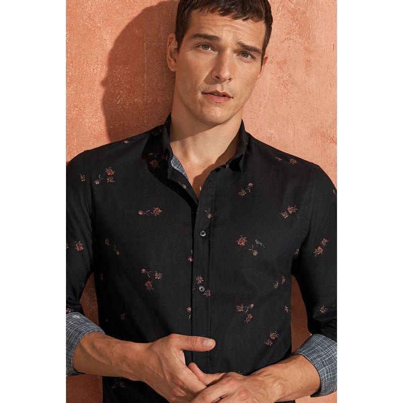 Camisa-Masculina-Manga-Longa-Estampa-Calleja-Mini-Preto-Acostamento-