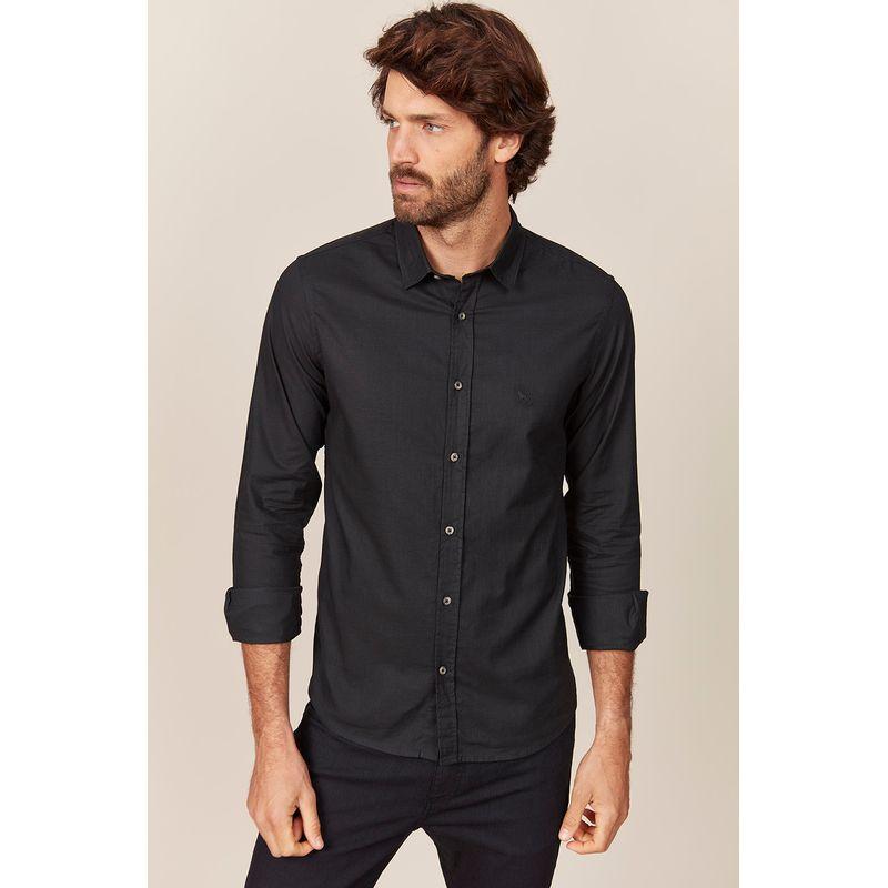 Camisa-Masculina-Manga-Longa-Preta-Acostamento