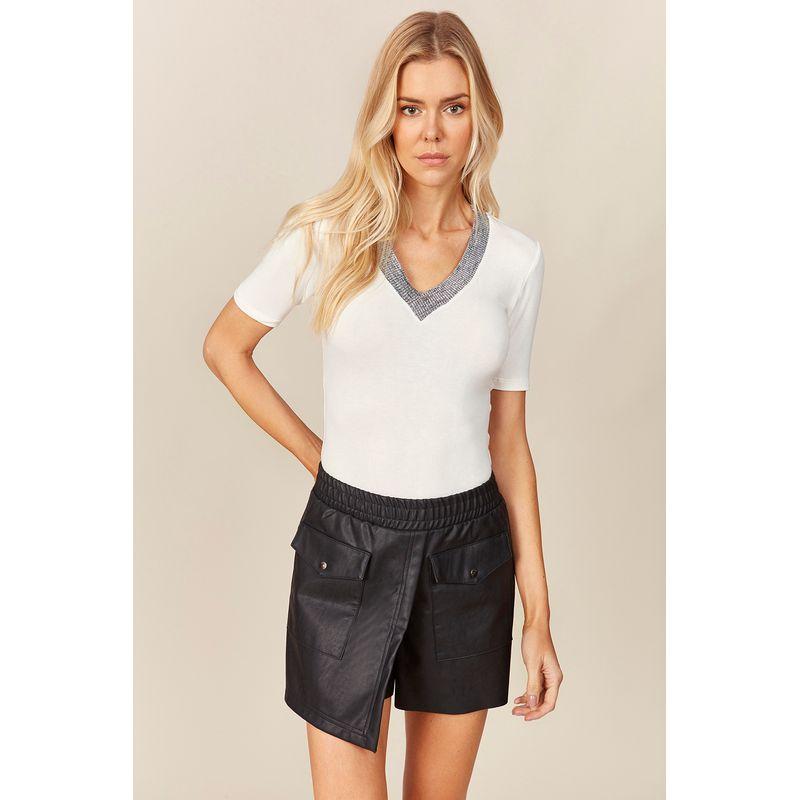 T-shirt Feminina Detalhe Tricot Lurex Acostamento 89202030--1-